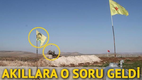 TÜRK ASKERİ,TÜRK BAYRAĞI, APO FOTOLU FLAMA VE YPG BAYRAĞI AYNI KAREDE